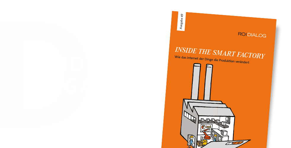 Orangenes Cover des ROI DIALOG Magazin mit Illustration zur Smart Factory