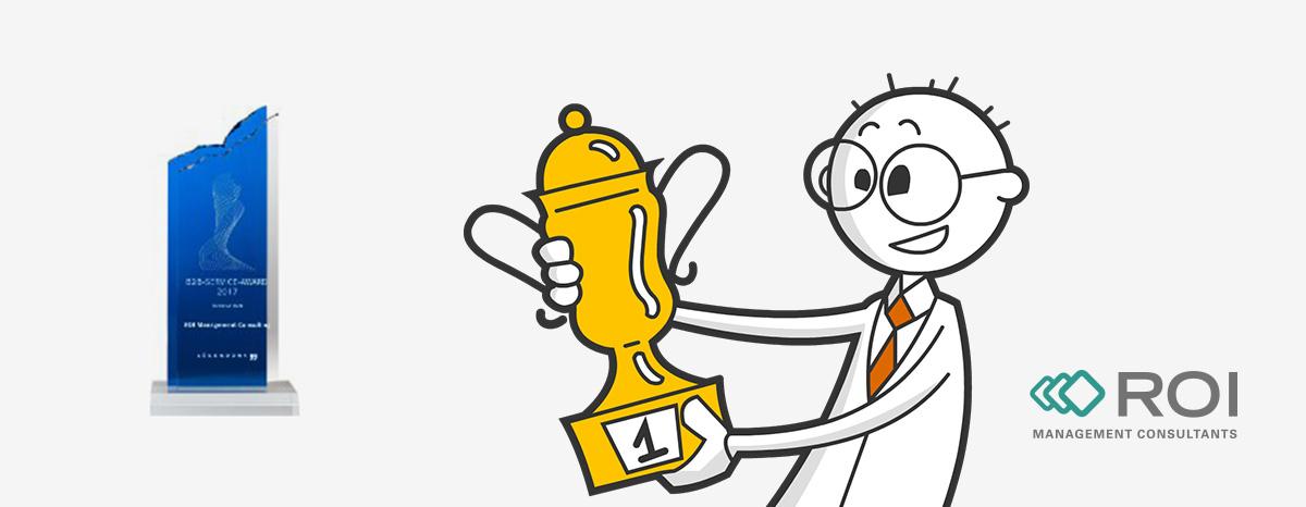 Illustration eins Mannes mit Pokal und B2B Award Auszeichnung