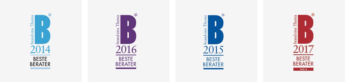 Logos der Beste Berater Auszeichnungen von 2014-2017
