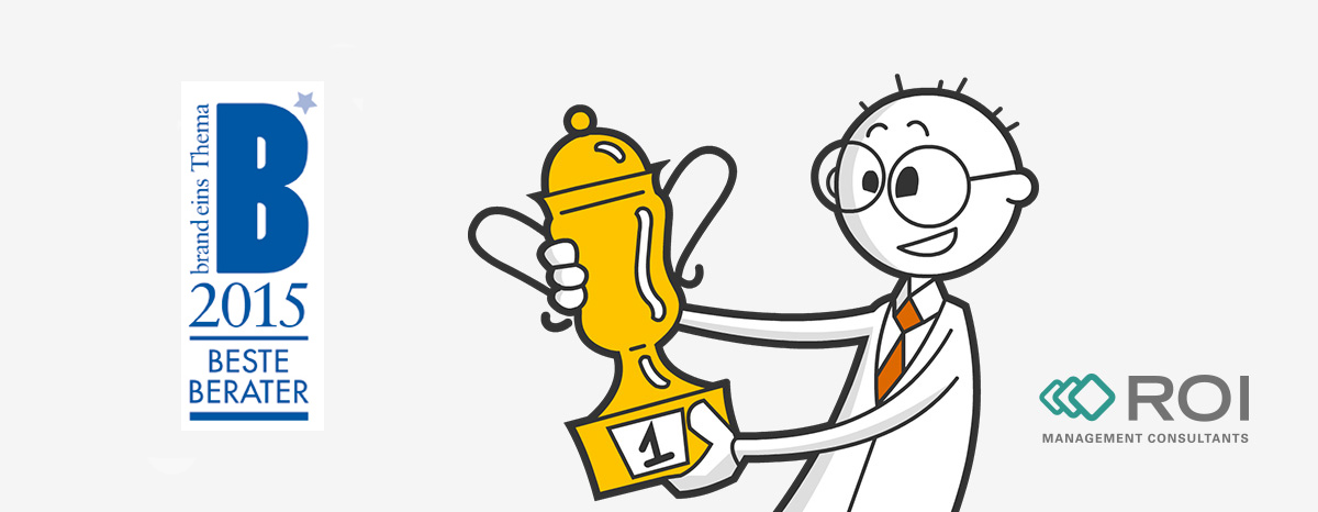 """Illustration eines Mannes mit Pokal und der Auszeichnung """"Bester Berater 2015"""""""