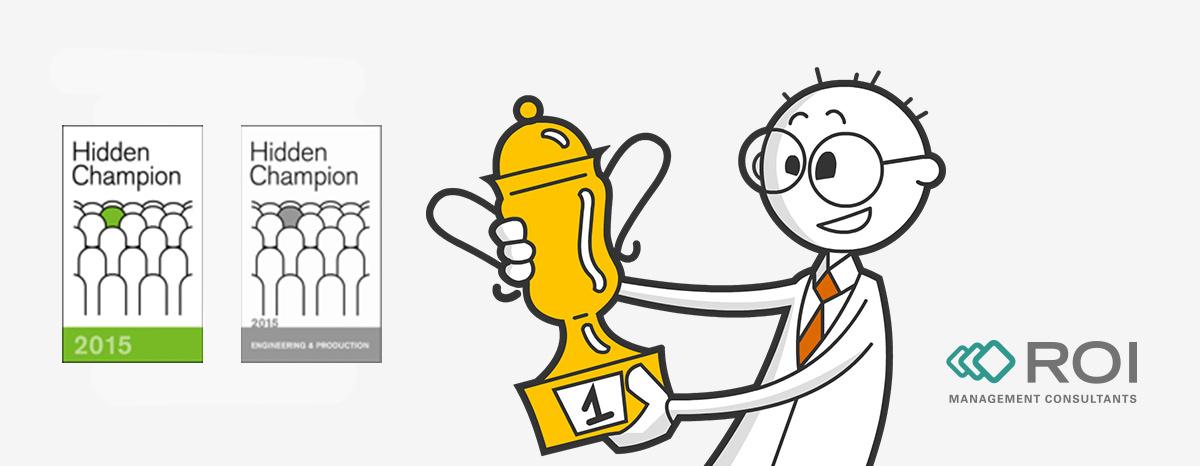 Illustration eines Mannes mit Pokal und zwei Logos Hidden Champion Award 2015