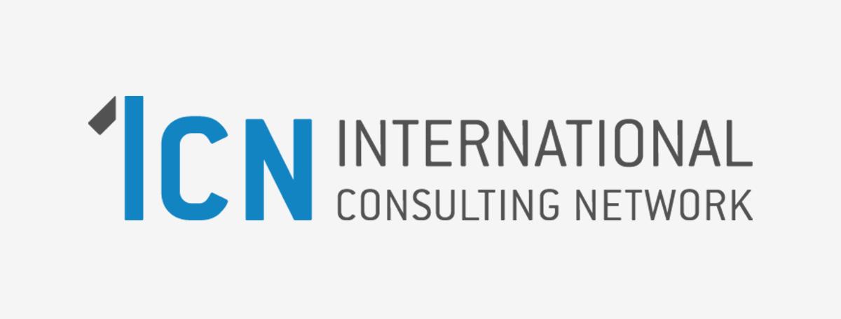 ICN Logo auf grauem Hintergrund